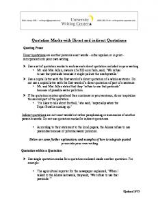 Quotation Marks with Direct and indirect Quotations