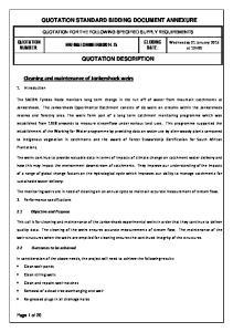 QUOTATION STANDARD BIDDING DOCUMENT ANNEXURE QUOTATION DESCRIPTION