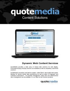 quotemedia Content Solutions Dynamic Web Content Services