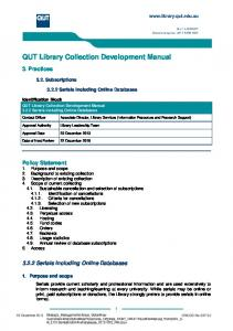 QUT Library Collection Development Manual