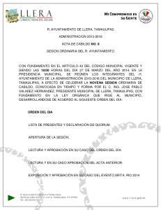 R. AYUNTAMIENTO DE LLERA, TAMAULIPAS ADMINISTRACION ACTA DE CABILDO NO. 9 SESION ORDINARIA DEL R. AYUNTAMIENTO