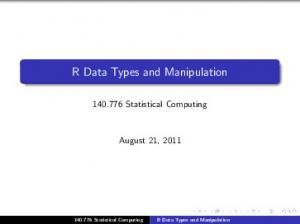 R Data Types and Manipulation