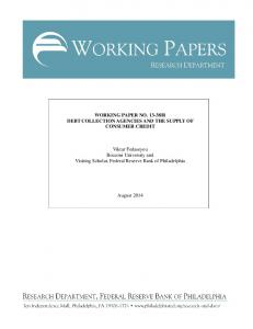 R DEBT COLLECTION AGENCIES AND THE SUPPLY OF CONSUMER CREDIT