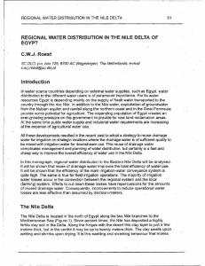 R-EGIONAL WATER DISTRIBUTION IN THE NILE-DELTA OF EGYPT