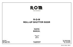 R O M ROLL-UP SHUTTER DOOR
