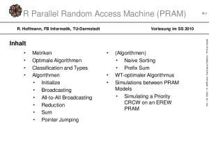 R Parallel Random Access Machine (PRAM)