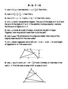 R - S - T (1982 F.) If are real and then find. 2. (1986 P.) If then find. 3. (1984 P.) If and then find and