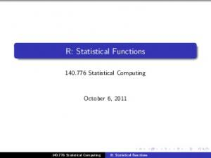 R: Statistical Functions