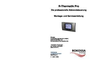 R-Thermatik Pro. Die professionelle Abbrandsteuerung. Montage- und Serviceanleitung