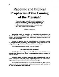 Rabbinic and Biblical Prophecies of the Coming of the Messiah!