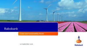 Rabobank. Green and Sustainability Bonds. 20 September 2016