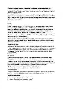 RAC Car Passport Service Terms and Conditions of Use for Buyer CPP