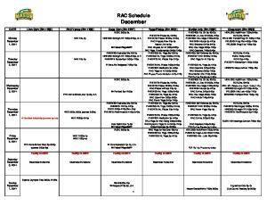 RAC Schedule December