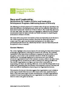 Race and Leadership: Implications for Leaders of Color and Leadership Development Programs Addressing Issues of Diversity