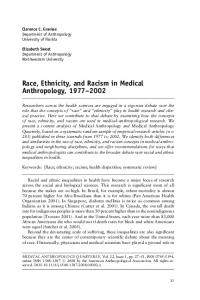 Race, Ethnicity, and Racism in Medical Anthropology,
