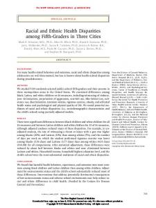 Racial and Ethnic Health Disparities among Fifth-Graders in Three Cities