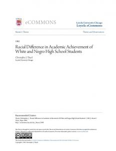 Racial Difference in Academic Achievement of White and Negro High School Students