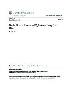 Racial Discrimination in IQ Testing - Larry P. v. Riles