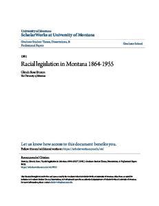 Racial legislation in Montana