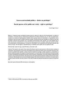 Racial quotas at the public uni versity - right or privilege?