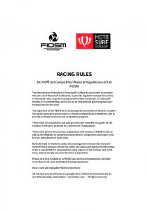 RACING RULES Official Competition Rules & Regulations of the FIDSM