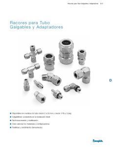 Racores para Tubo Galgables y Adaptadores