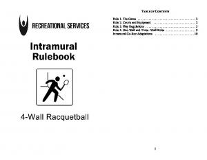 RACQUETBALL RULES. Intramural Racquetball rules are adapted from the American Amateur Racquetball Association
