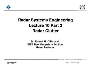 Radar Systems Engineering Lecture 10 Part 2 Radar Clutter