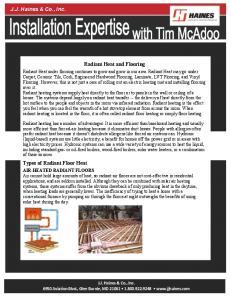 Radiant Heat and Flooring
