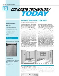 RADIANT HEAT WITH CONCRETE by Ingrid Mattsson and Gary Fries*