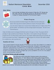 Radiant Montessori Newsletter December 2016