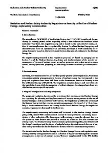 Radiation and Nuclear Safety Authority Regulation on Security in the Use of Nuclear Energy, explanatory memorandum