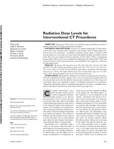 Radiation Dose Levels for Interventional CT Procedures