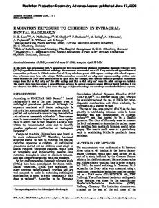 Radiation Protection Dosimetry Advance Access published June 17, 2006