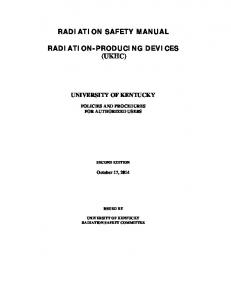 RADIATION SAFETY MANUAL RADIATION-PRODUCING DEVICES (UKHC)