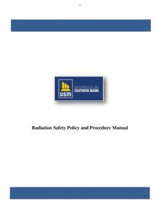 Radiation Safety Policy and Procedure Manual