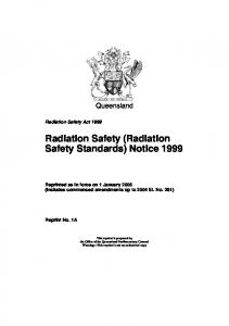 Radiation Safety (Radiation Safety Standards) Notice 1999