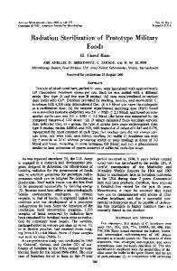 Radiation Sterilization of Prototype Military Foods