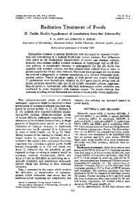 Radiation Treatment of Foods