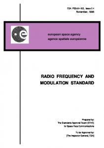 RADIO FREQUENCY AND MODULATION STANDARD