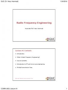 Radio Frequency Engineering