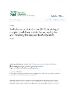 Radio frequency interference (RFI) modeling of complex modules in mobile devices and systemlevel modeling for transient ESD simulation