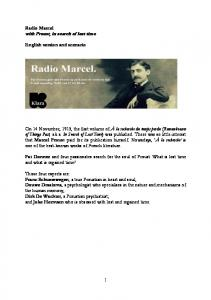 Radio Marcel with Proust, in search of lost time. English version and scenario