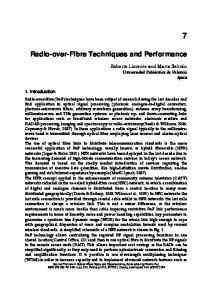 Radio-over-Fibre Techniques and Performance