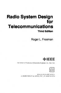 Radio System Design for Telecommunications Third Edition. Roger L. Freeman