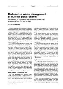 Radioactive waste management at nuclear power plants