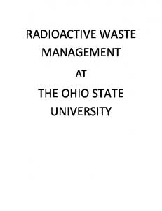 RADIOACTIVE WASTE MANAGEMENT THE OHIO STATE UNIVERSITY