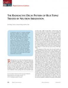 Radioactivity is one of the most discussed topics surrounding THE RADIOACTIVE DECAY PATTERN OF BLUE TOPAZ TREATED BY NEUTRON IRRADIATION