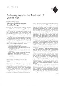 Radiofrequency for the Treatment of Chronic Pain