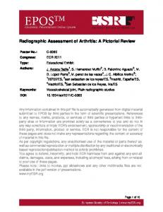 Radiographic Assessment of Arthritis: A Pictorial Review